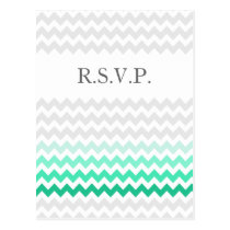 Mod chevron mint green Ombre wedding rsvp Postcard