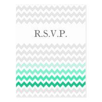 Mod chevron mint green Ombre wedding rsvp Postcard