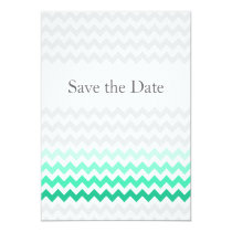 Mod chevron mint green Ombre wedding save the date Card