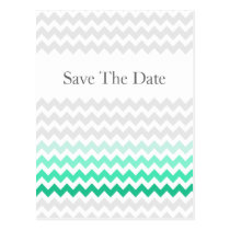 Mod chevron mint green Ombre wedding save the date Postcard