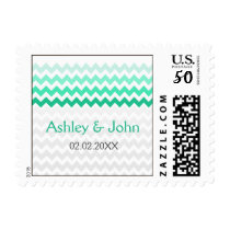 Mod chevron mint green Ombre wedding stamps