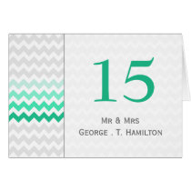 Mod chevron mint green Ombre wedding table numbers Card