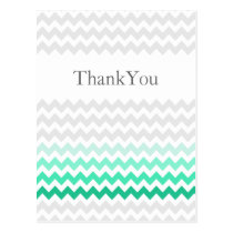 Mod chevron mint green Ombre wedding Thank You Postcard