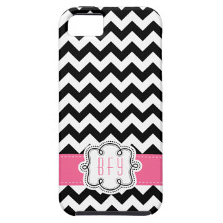 Mod Chevron Pattern Black White PINK initials iPhone 5 Covers