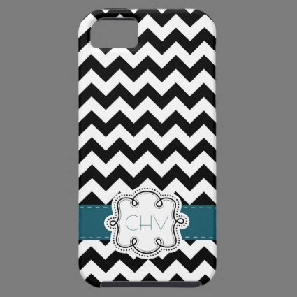Mod Chevron Pattern Black White Teal initials iPhone 5 Cases