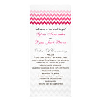 Mod chevron Pink Ombre Wedding program