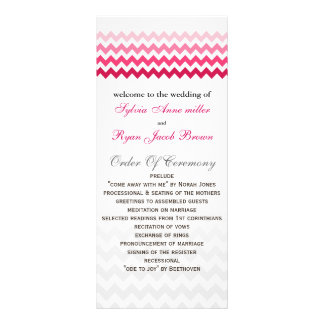 Mod chevron Pink Ombre Wedding program