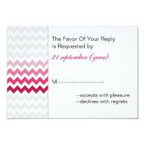 Mod chevron Pink Ombre wedding rsvp 3.5 x 5 Card