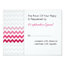 Mod chevron Pink Ombre wedding rsvp Card