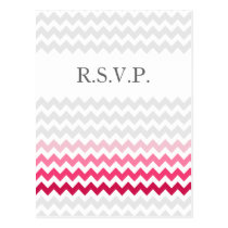 Mod chevron Pink Ombre wedding rsvp Postcard