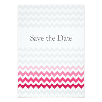 Mod chevron Pink Ombre wedding save the date Card