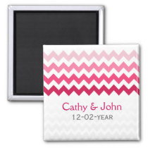 Mod chevron Pink Ombre wedding save the date Magnet