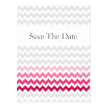 Mod chevron Pink Ombre wedding save the date Postcard