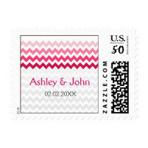 Mod chevron Pink Ombre wedding stamps