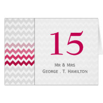 Mod chevron Pink Ombre wedding table numbers Card