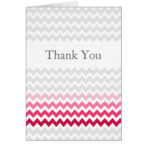 Mod chevron Pink Ombre wedding Thank You Card