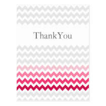 Mod chevron Pink Ombre wedding Thank You Postcard