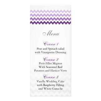 Mod chevron purple Ombre wedding menu cards