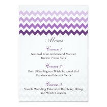 Mod chevron purple Ombre wedding menu cards