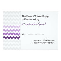 Mod chevron purple Ombre wedding rsvp 3.5 x 5 Card