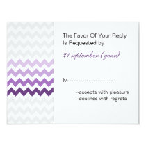 Mod chevron purple Ombre wedding rsvp Card
