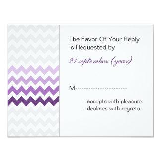 "Mod chevron purple Ombre wedding rsvp 4.25"" X 5.5"" Invitation Card"
