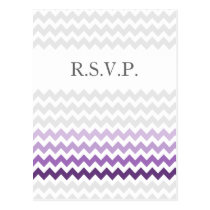 Mod chevron purple Ombre wedding rsvp Postcard