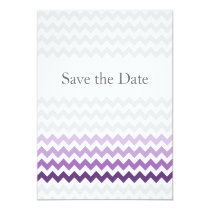 Mod chevron purple Ombre wedding save the date Card