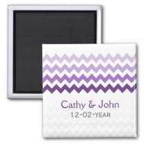 Mod chevron purple Ombre wedding save the date Magnet