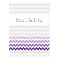 Mod chevron purple Ombre wedding save the date Postcard