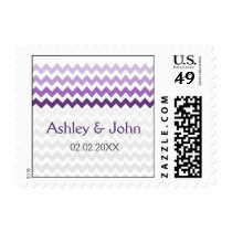 Mod chevron purple Ombre wedding stamps