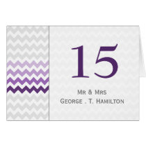Mod chevron purple Ombre wedding table numbers Card