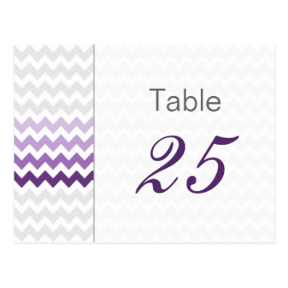 Mod chevron purple Ombre wedding table numbers Post Cards