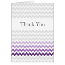 Mod chevron purple Ombre wedding Thank You Card