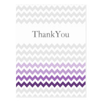 Mod chevron purple Ombre wedding Thank You Postcard