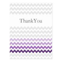 Mod chevron purple Ombre wedding Thank You Postcard