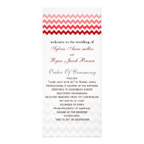 Mod chevron red Ombre Wedding program