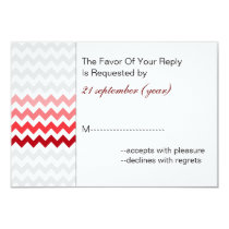 Mod chevron red Ombre wedding rsvp 3.5 x 5 Card