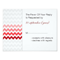 Mod chevron red Ombre wedding rsvp Card