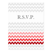 Mod chevron red Ombre wedding rsvp Postcard