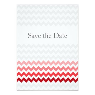 Mod chevron red Ombre wedding save the date Card