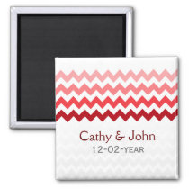 Mod chevron red Ombre wedding save the date Magnet