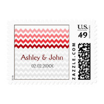Mod chevron red Ombre wedding stamps