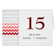 Mod chevron red Ombre wedding table numbers Card