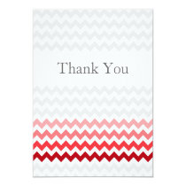 Mod chevron red Ombre wedding Thank You Card
