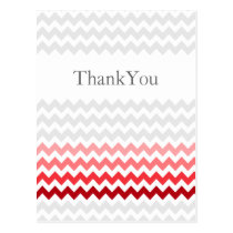 Mod chevron red Ombre wedding Thank You Postcard
