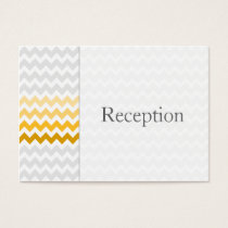 Mod chevron yellow and gray Ombre Reception Cards