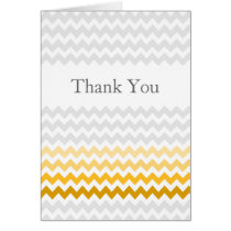Mod chevron yellow and gray Ombre  Thank You Card