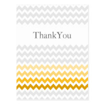 Mod chevron yellow and gray  Ombre Thank You Postcard
