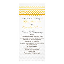 Mod chevron yellow and gray  Ombre Wedding program